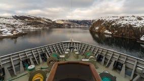巡航通过海峡在挪威 库存图片