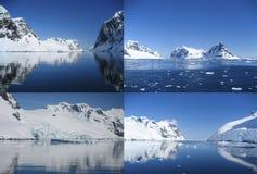 巡航通过美好的Lemaire海峡,安塔尔拼贴画  免版税库存照片