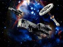 巡逻太空飞船 免版税图库摄影