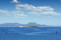 巡洋舰爱奥尼亚海科孚岛 免版税库存图片