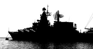 巡洋舰的剪影。 皇族释放例证