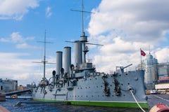 巡洋舰Avrora在圣彼德堡 俄国 库存照片