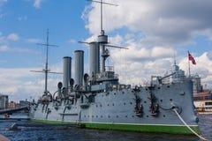 巡洋舰Avrora在圣彼德堡 俄国 免版税库存图片
