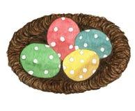 巢用被绘的复活节彩蛋 免版税库存图片