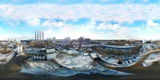 工业不健康的区域ne 360度全景鸟瞰图  免版税库存图片