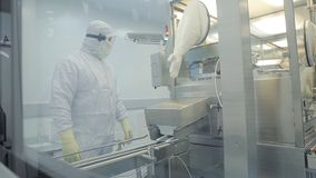 工业制药 检查药片的质量的男性工厂劳工包装在配药工厂 贪婪 库存图片
