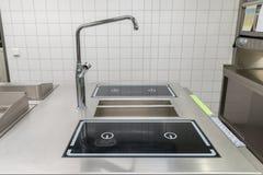 工业厨房设备的看法 免版税库存图片