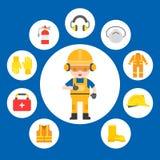 工业安全和防护器材工作者illustra的 向量例证