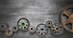 工业嵌齿轮横幅背景 免版税库存照片