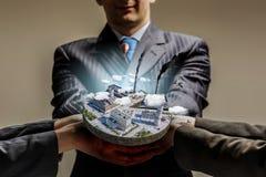 工业建筑的概念 混合画法 免版税图库摄影