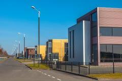 工业房地产在t的一个新开发的商业区域 免版税库存照片