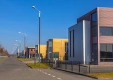 工业房地产在t的一个新开发的商业区域 免版税库存图片