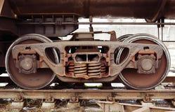 工业有轨机动车轮子 免版税库存图片