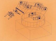 工业机器人胳膊-减速火箭的建筑师图纸 免版税图库摄影
