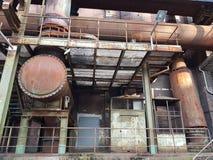工业朽烂Landschaftspark Nord的片段 库存图片