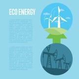 从工业污染的演变到eco能量 免版税图库摄影