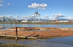工业河边区和日志景气 图库摄影