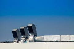 工业空调和通风系统在屋顶 库存照片
