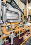 工业管子在一个热电厂 免版税库存图片