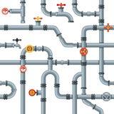 工业管子无缝的样式 管子阀门和轻拍,流失冷却或者暖气管道气体压力测量仪 皇族释放例证