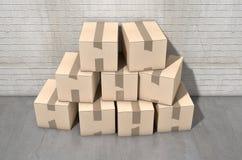 工业纸板箱的堆 库存图片