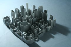 工业铝挤压的摘要 免版税库存图片