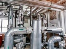 工业锅炉室 架线管子 r 库存照片