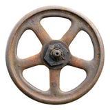 工业阀门轮子和词根,被风化的难看的东西门闩宏指令 免版税库存图片