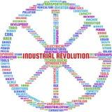 工业革命词云彩在车轮的形状的文本例证 图库摄影