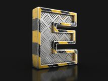 工业黑和黄色镶边金属字体-信件E 与裁减路线的图象 库存图片