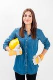 年轻工人妇女画象  库存图片