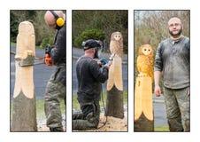 工作三张相联的雕刻家 库存照片