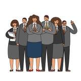 工作乘员组企业队一起站立字符小组概念现代平的设计传染媒介例证的办公室工作者 皇族释放例证