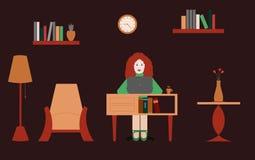 工作从家在一个舒适的环境里 库存例证