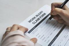工作伤害要求登记表概念 图库摄影