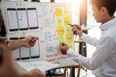 工作关于飞行的UX设计师创造性的小组与稠粘的笔记的流动应用计划 用户经验概念 免版税库存照片