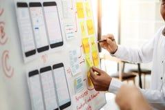 工作关于飞行的UX设计师创造性的小组与稠粘的笔记的流动应用计划 用户经验概念 免版税库存图片