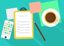 工作区例证用咖啡和提示 免版税库存图片