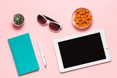 工作区大模型白色片剂、笔、玻璃、薄荷的日志和仙人掌在桃红色背景 平的位置,顶视图 免版税库存照片