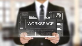 工作区,全息图未来派接口,被增添的虚拟现实 免版税库存图片