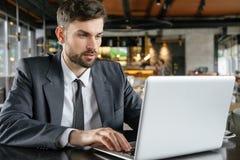 工作午餐的买卖人在被集中的餐馆坐的浏览膝上型计算机 免版税库存照片