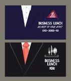 工作午餐菜单和送货业务卡片 免版税库存图片