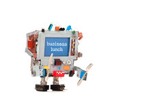 工作午餐餐馆菜单公告海报 蓝色屏幕有广告正文消息的显示器机器人 滑稽 库存图片