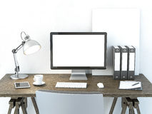 工作单位与计算机显示器的 免版税库存图片