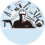 工作员和工作工具 库存图片