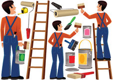 工作员和diy绘画项目 库存照片
