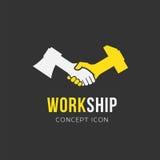 工作和友谊抽象传染媒介标志象或 免版税库存图片