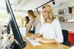 工作在一个现代办公室的美丽的妇女 免版税库存照片