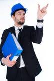 工作在一个真正接口的年轻建筑师 免版税库存照片