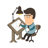 工作在书桌上的建筑师 安置项目 制图员平的例证字符设计 免版税库存照片